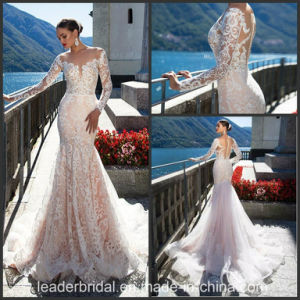 Long Sleeves Bridal Ball Gown Lace Wedding Dress 2017 Ld1506 pictures & photos