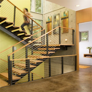 Luxury Interior Wood Staircase with Wire Balustrade pictures & photos