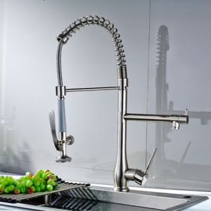 FLG Nickel Brushed Pull Down Two Spray Kitchen Faucets Tap pictures & photos
