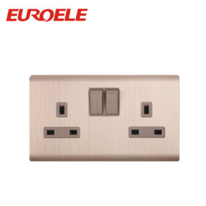 Good Aluminum Plate Double Switched Socket pictures & photos