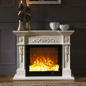 Simple European White Carving Heating Electrical Fireplace with LED (322S) pictures & photos