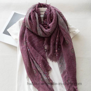 2017 Wholesale Thin Natural Crinkle Dots Printed Linen/Cotton Fashion Scarf (HWBLC201) pictures & photos