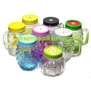 Glass Drinking Mason Jar with Handle and Screw Tin Lid pictures & photos