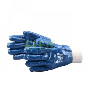 Blue Nitrile Dipped Gloves Safety Industrial Work Glove in China pictures & photos