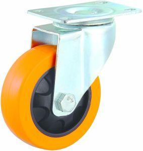3/4/5 Inch Orange Color PU Rigid Castor Wheel Medium Duty PU Industrial Fixed Caster pictures & photos