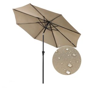 9 FT Outdoor Market Aluminum Umbrella with 8 Steel Ribs and Wind Vent, 100% Polyester, Beige pictures & photos