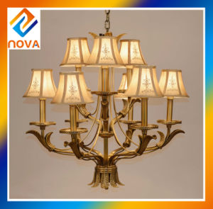 Bronze Chandelier Light with Fabric Shape for Ceiling Lamp pictures & photos