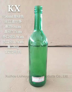 750ml Grade Food Grade, Threaded Port, Olive Green (brown) , Dark Green, Emerald Green Bordeaux Red Wine Bottle pictures & photos
