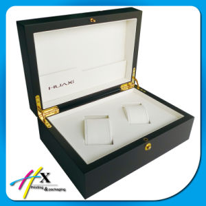 Luxury Branded Matte Black 2 Slot Wooden Watch Gift Box pictures & photos