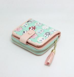 Fashion Delicate Lady Mini Leather Wallet with Printed Artwork pictures & photos