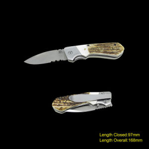 Folding Knife with Deer Horn Handle (#3717) pictures & photos