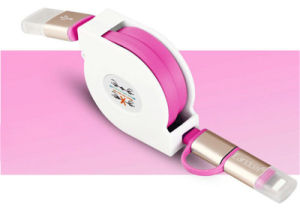 Retractable 2-in-1 Lightning Charging Data USB Cable for iPhone Samsung pictures & photos