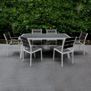 Cheap Garden Patio Party Furniture Scalable Dining-Table Rectangle Plastic Wood Aluminum Metal Chair Table Set for Sale pictures & photos