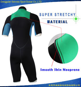 Men Smooth Skin Neoprene Super Stretch Fabric Shorty Surfingsuit