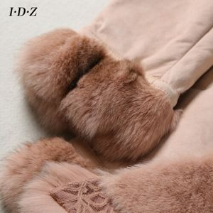 New Design Lady′s Genuine Shearing Leather and Fur Jacket Long Style Fox Fur pictures & photos