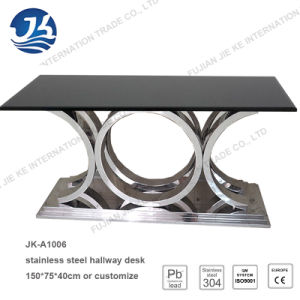 2016 Factory Supply Natural Black Marble Stainless Steel Console Table pictures & photos