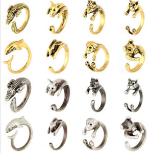 Zinc Alloy Metal Animal Ring Wrap Snake Dolphin Bronze/Silver