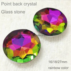 Round 27mm Rainbow Color Pointed Back Chaton K9 Glass Rhinestones Crystal (TP-Round 27mm rainbow) pictures & photos
