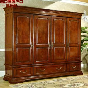 Hand Carved Furniture Clothes Closet Bedroom Wood Wardrobe (GSP17-015) pictures & photos