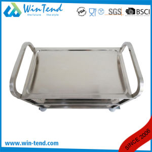 Stainless Steel 3 Tiers Square Tube Hand Push Moving Truck for Restaurant pictures & photos