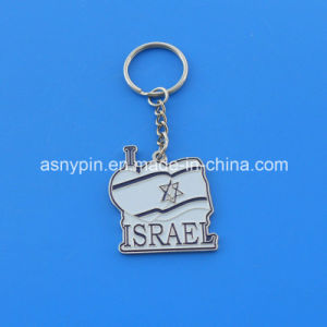 Custom Personalized Shaped Israel Flag Design Metal Key Chain pictures & photos