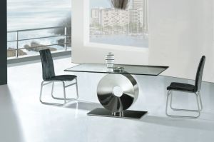 Home Special Furniture Stainless Steel Glass Dining Table (A6028)