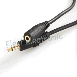 Wholesale Custom Black 3.5mm M-F 5FT Audio Cable pictures & photos