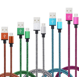 Colorful Nylon Woven USB Data Charger Caable for All Micro Port Charging pictures & photos