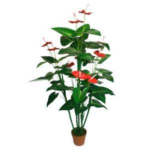 "Polyester Artificial Plants of 142cm Anthurium with 7""Plastic Pot, 47 Lvs and 10 Flower"
