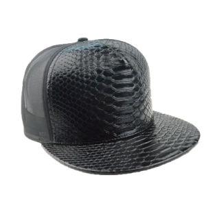 Custom Black Plain Flat Brim 6 Panel PU Snapback Cap Fitted Hat pictures & photos
