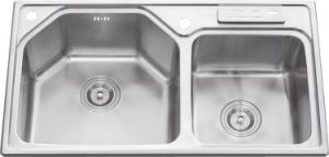 L5708 Stainless Steel Welding Double Bowl Sink pictures & photos
