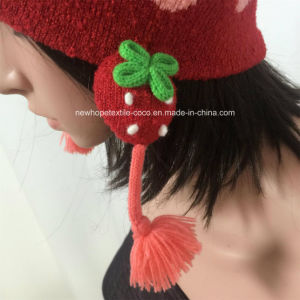 Fashion Beanie for Children with Ears/Pompom/Jacquard/Patch/Strings pictures & photos