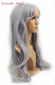High Quality Long Hair Gray Color Fashion Nature Wave Synthetic Wigs pictures & photos