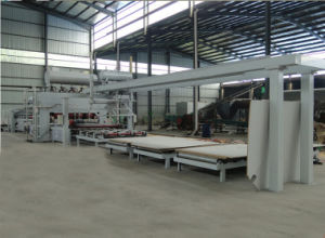 Laminated Melamine Faced MDF Press Machine/ One Complete Set of Full Automatic Melamine Lamination Line pictures & photos