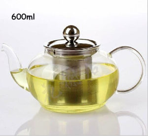Stainless Steel Filter Lid Borosilicate Glass Green Tea Pot pictures & photos