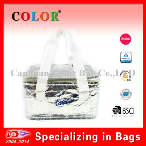 Silver Tote Pinic Cooler Bag with Zipper Lock