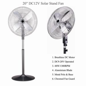 """Aluminium Blade 20"""" Solar Battery Stand Fan 12V/48W pictures & photos"""