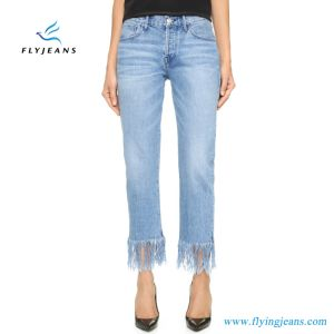 Straight Crop Frame Classic Jeans for Women and Ladies pictures & photos