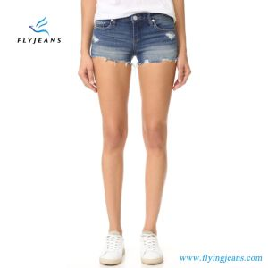 New Fashion Holes Distressed Cotton Jeans Women Denim Short pictures & photos
