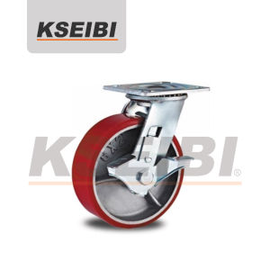 Swivel Plate Kseibi Heavy-Duty PU Cast Iron Caster with Brakes pictures & photos