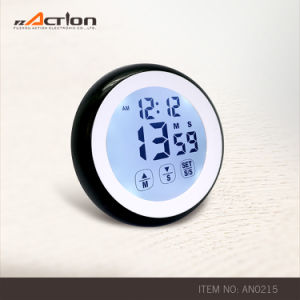 Round Shape Magnetic Touch Screen Digital Kitchen Timer with Clock pictures & photos