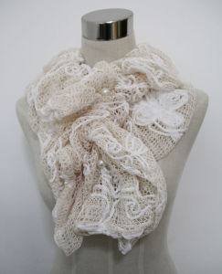 Ladies Fashion Polyester Lace Scarf with Pearls (YKY4383B) pictures & photos