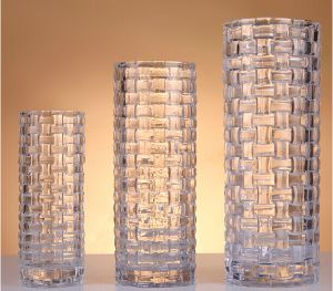 Straight Hape Glass Vase with Weave for Decoration&Gift
