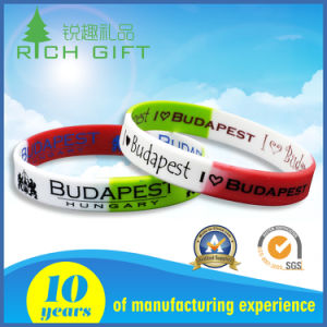 Free Sample Screen Printing Customized Logo Swirl Silicone Bracelets pictures & photos