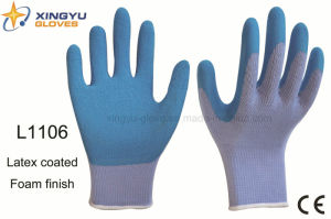 10g High Grade Polyester Shell Latex Foam Coated Safety Work Glove (L1106) pictures & photos