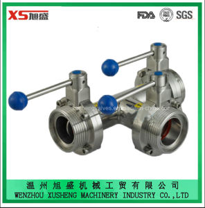 Food Grade Stainless Steel Dn50 Thread Thread Three-Way Butterfly Valve pictures & photos