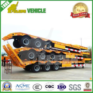 3 Axle 70 Tons Equipment Transport Low Bed Heavy Duty Trailer for Algeria pictures & photos