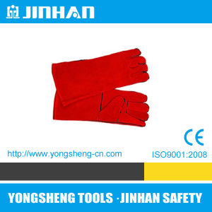 "16"" Welding Glove Red Full Palm Cow Leather Gloves (S-1001A)"