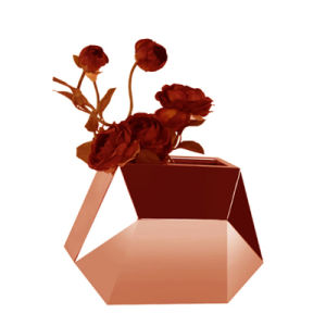 Irregular Metal Rose Gold Flower Vase with Home Table Decoration