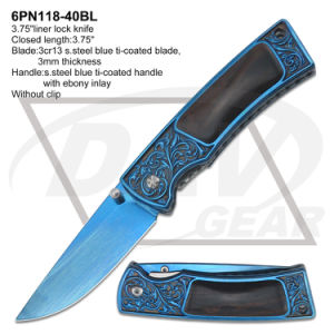 Blue Ti-Coated Blade Ebony Handle Folding Pocket Knife pictures & photos